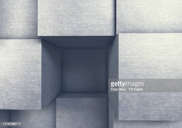 stack of metal cubes for strong and hitech concepts - プラチナ ストックフォトと画像