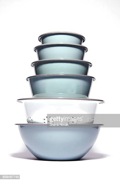 Stack of Metal Kitchen Bowls and Colander