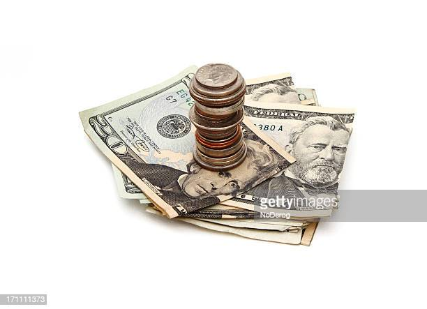 stack of money, coins and currency - ulysses s grant stock pictures, royalty-free photos & images