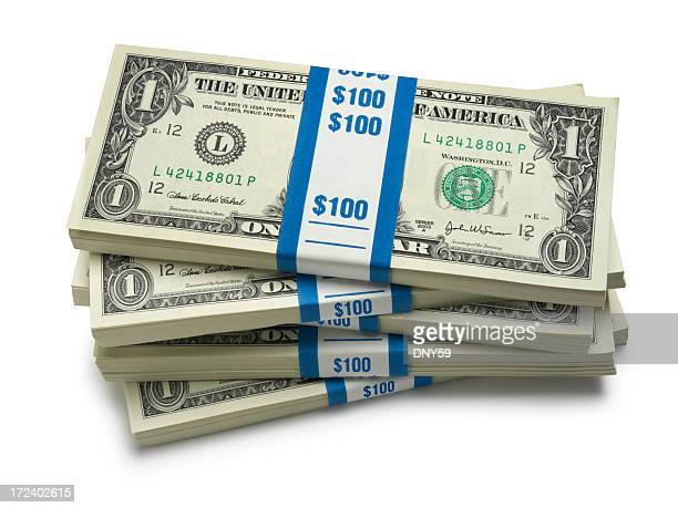 stack of money - american one dollar bill stock pictures, royalty-free photos & images