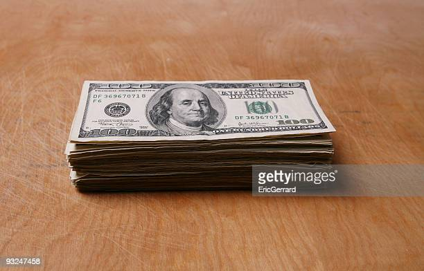 stack of money - american one hundred dollar bill stock pictures, royalty-free photos & images