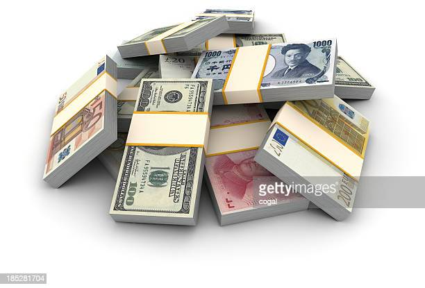 Stack of money piles