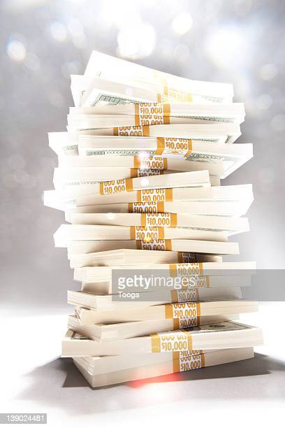 Stack of money with flare