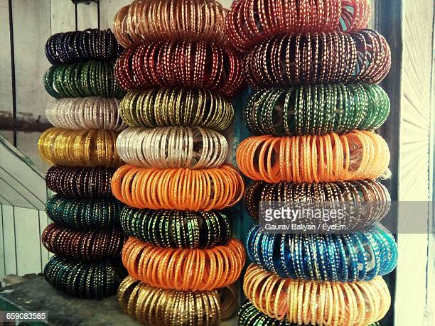 Stack Of Multi Colored Bangles Arranged In Store