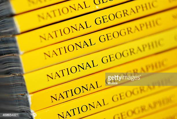 Stack of National Geographic magazines macro close-up