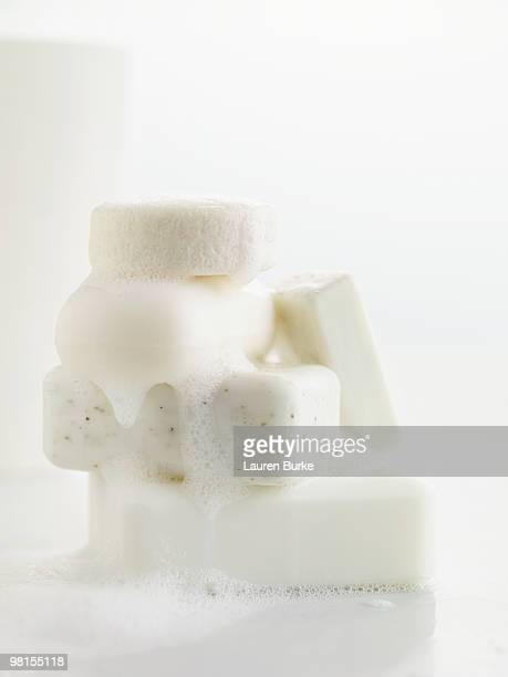 Stack of Natural Soaps with Suds/Bubbles