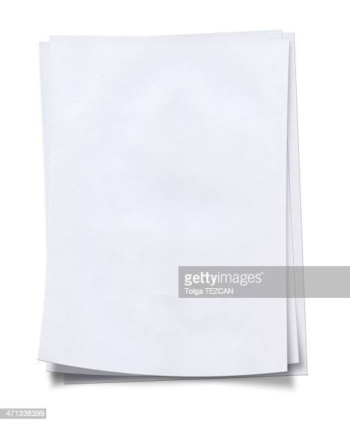 stack of neat, fresh, blank white paper - magazine page stock photos and pictures
