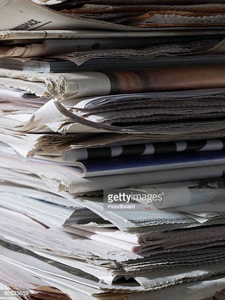 Stack of newspapers, close up