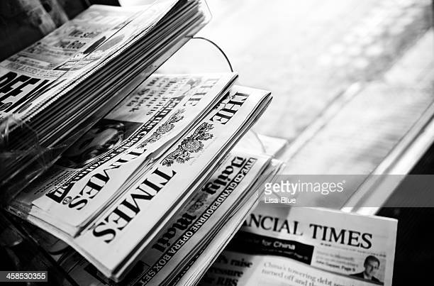 Stack of Newspapers. London - England. Black And White