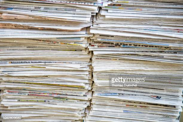 Stack of newspapers on October 19 2018 in Berlin Germany