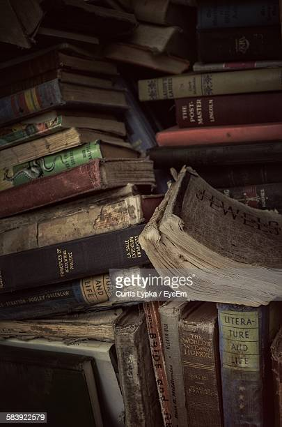 Stack Of Old Books At Library