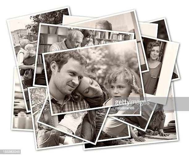 stack of old family photographs - photo album stock photos and pictures
