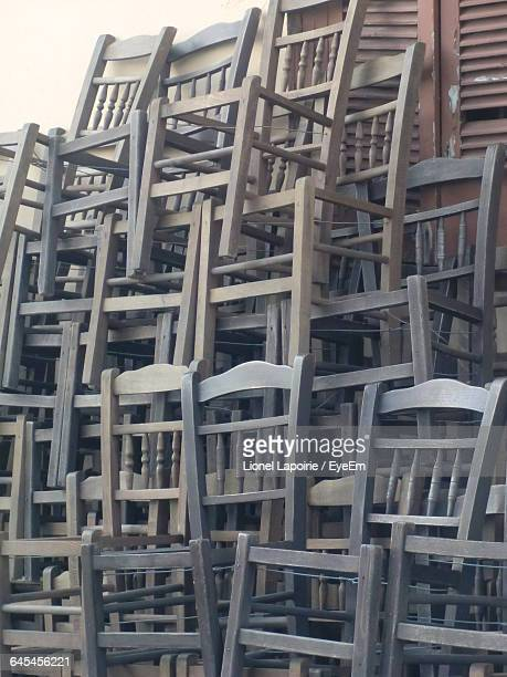 Stack Of Old Wooden Chairs