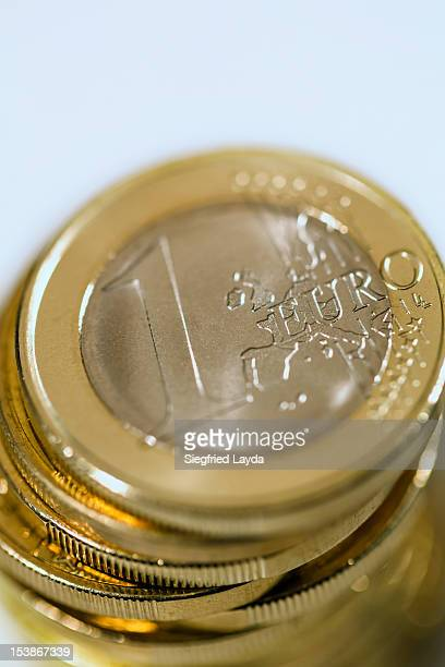 A stack of one euro coins