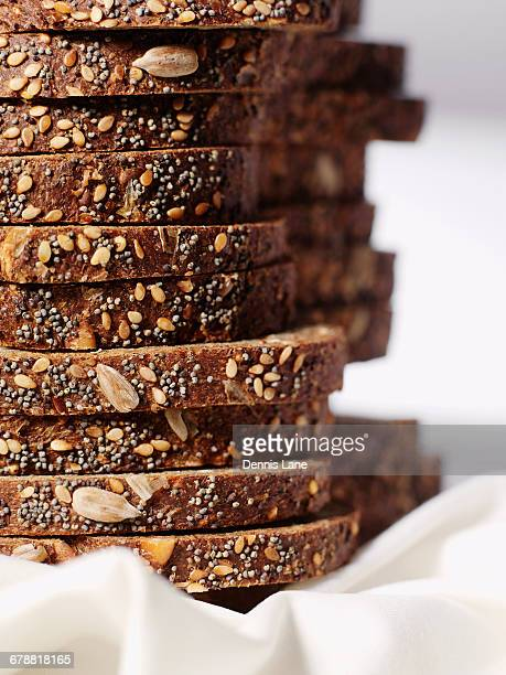 Stack of organic sliced bread with seeds