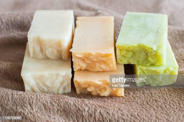 stack of organic soap and shampoo - 固体 ストックフォトと画像