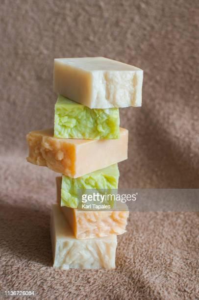 stack of organic soap and shampoo - solidità foto e immagini stock