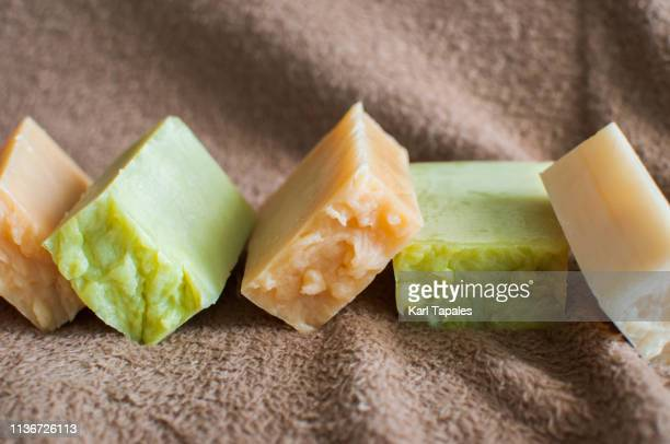stack of organic soap and shampoo - solid stock pictures, royalty-free photos & images