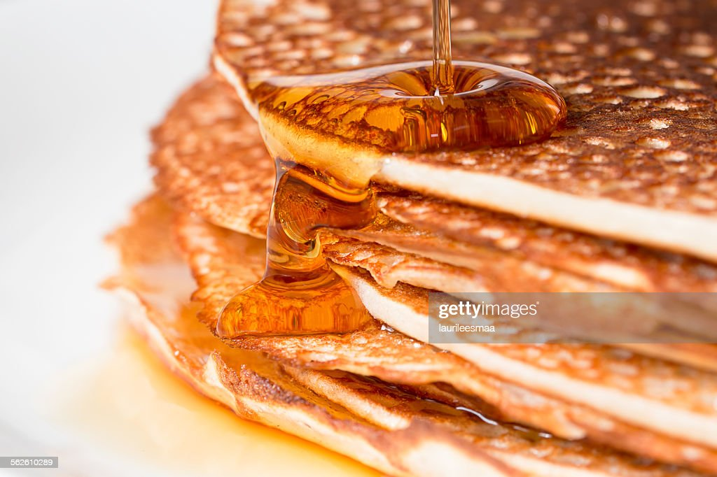 Stack of pancakes with maple syrup : Stock Photo