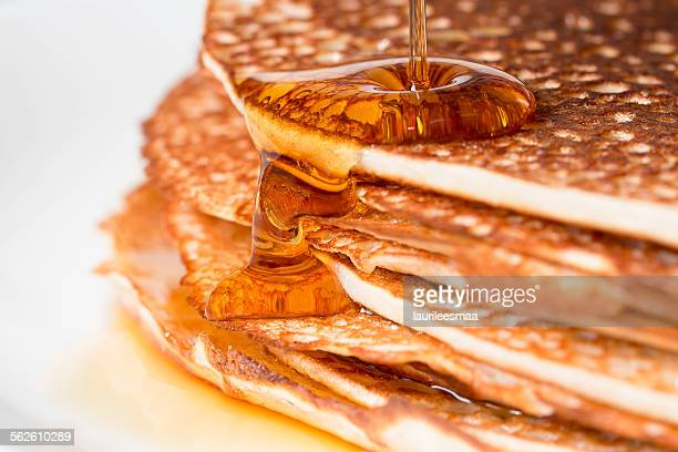 stack of pancakes with maple syrup - pancake stock pictures, royalty-free photos & images