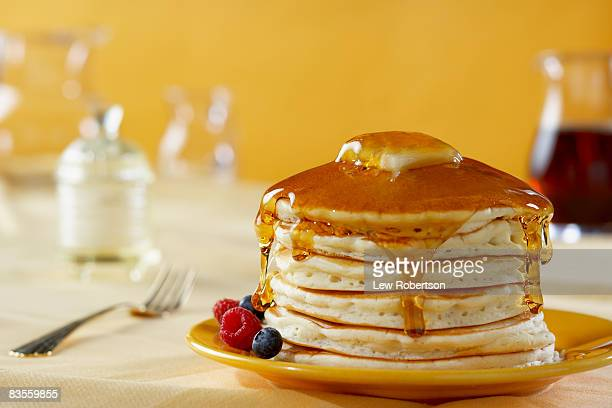 stack of pancakes with syrup - pancake stock pictures, royalty-free photos & images