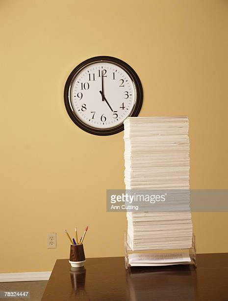 Stack of papers on a desk