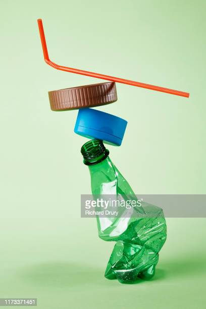 a stack of plastic rubbish for recycling - pollution stock pictures, royalty-free photos & images