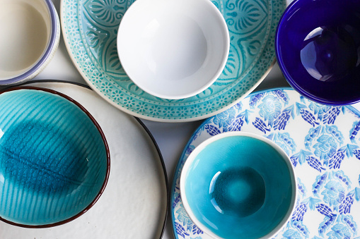 Stack of Plates and Bowls 868959054