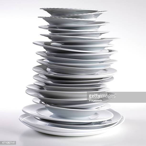 stack of plates - stack stock photos and pictures