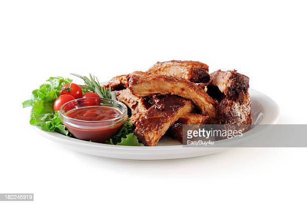 stack of pork ribs - plate stock photos and pictures