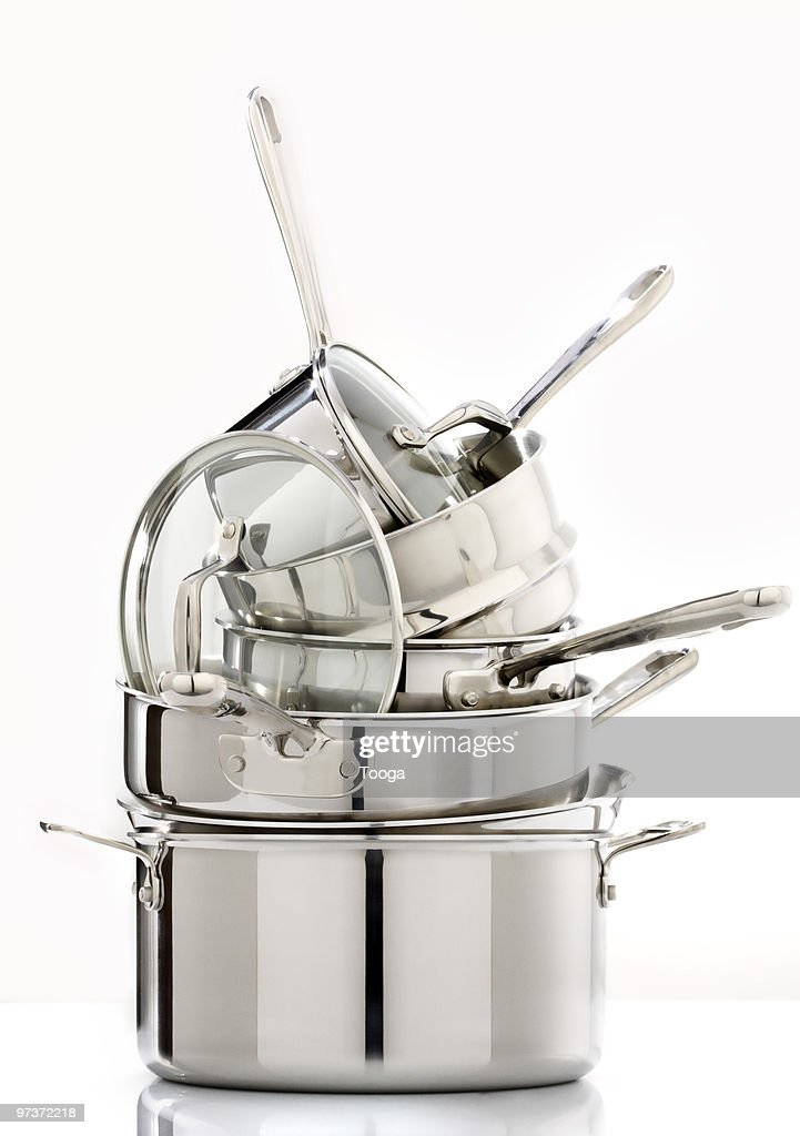 Stack of pots and pans : Stock Photo