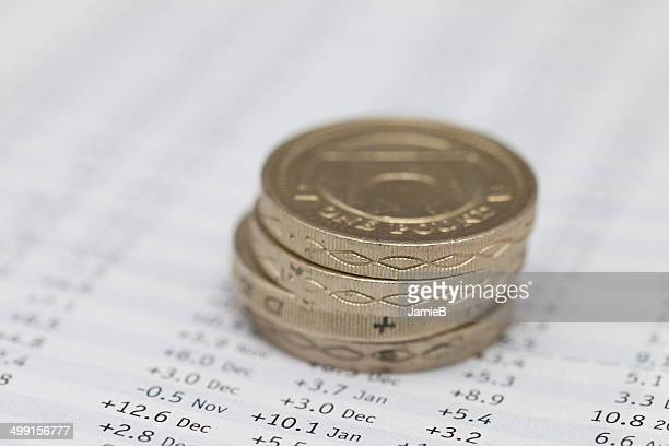 Stack of pound coins on financial data