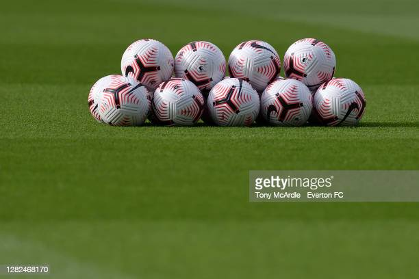 A stack of Premier League match balls before the Premier League match between Southampton and Everton at St Mary's Stadium on October 25 2020 in...
