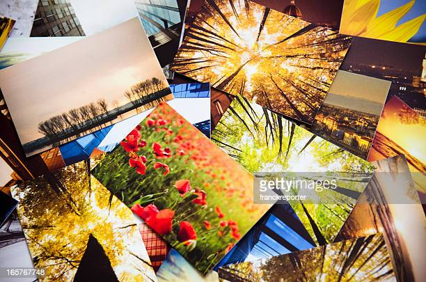stack of printed colorful images - foto stockfoto's en -beelden