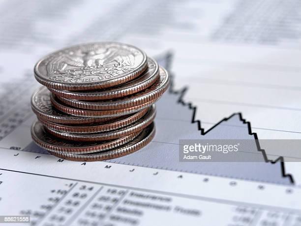 Stack of quarters on descending line graph