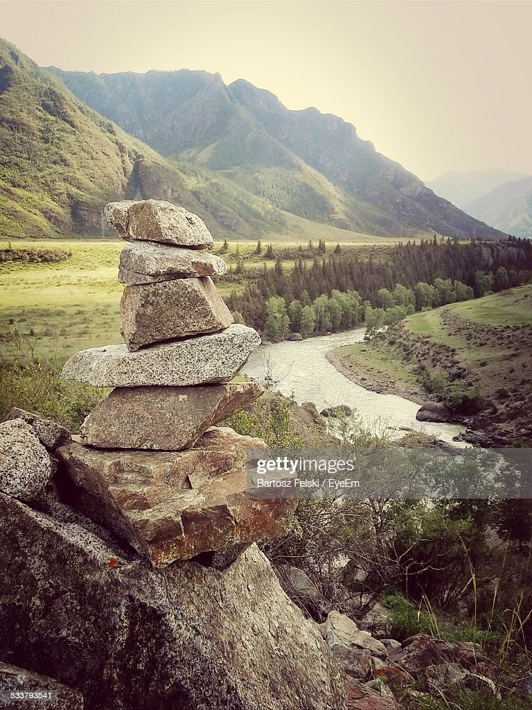 Stack Of Rocks, Forest In Background : Foto stock