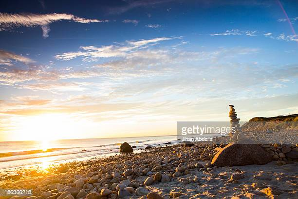 stack of rocks on beach - martha's_vineyard stock pictures, royalty-free photos & images