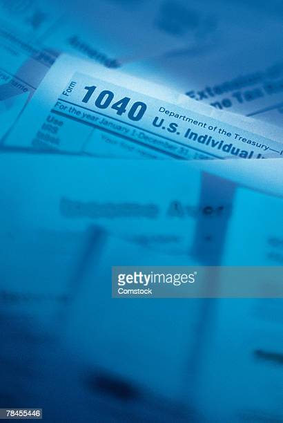 Stack of tax refund forms