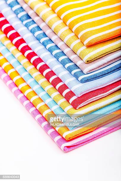 stack of tea towels - dish towel stock pictures, royalty-free photos & images