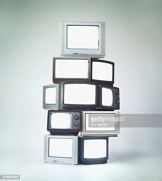 Stack of televisions
