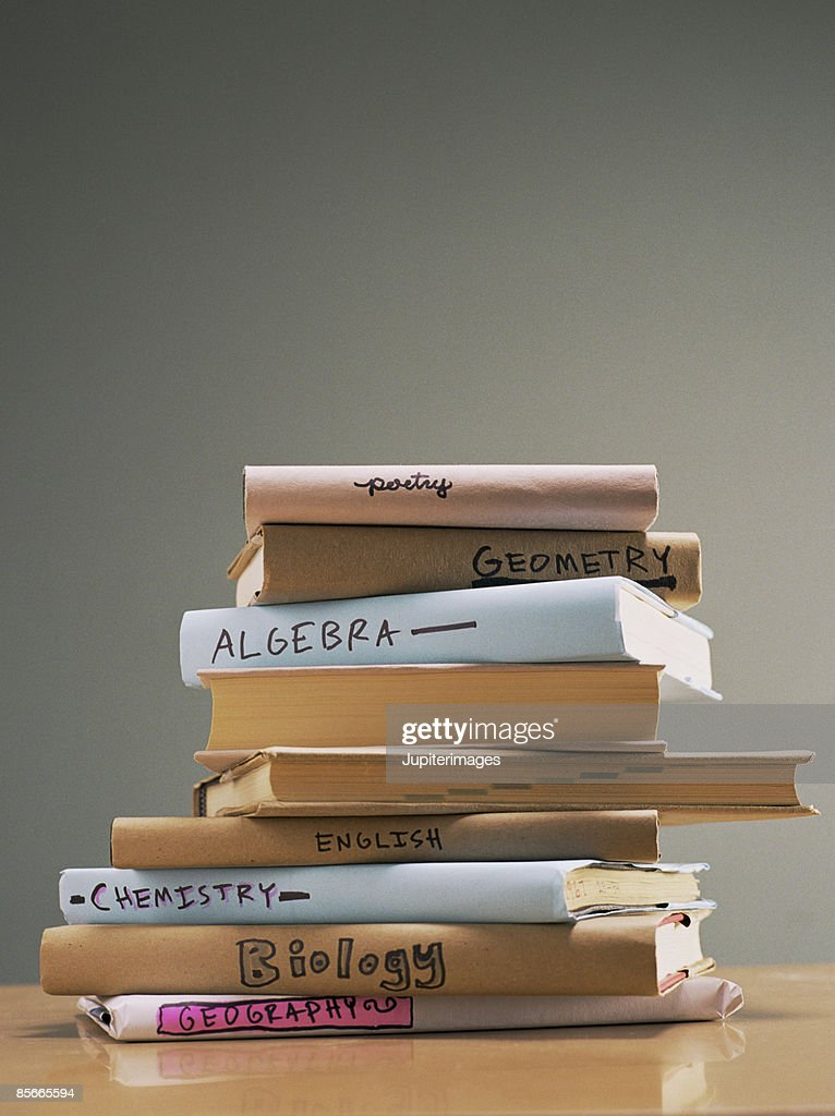 Stack of text books : Foto de stock