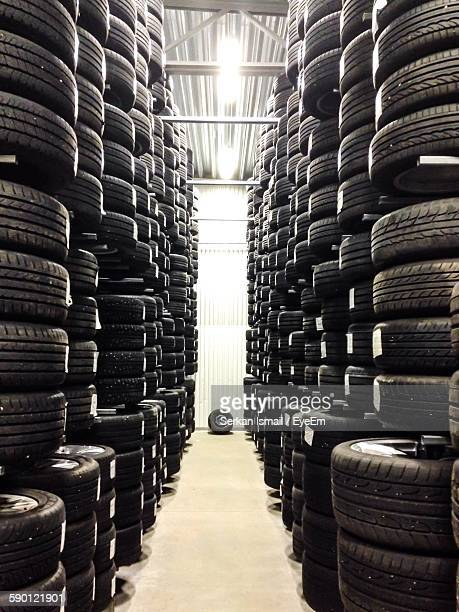 Stack Of Tires At Warehouse