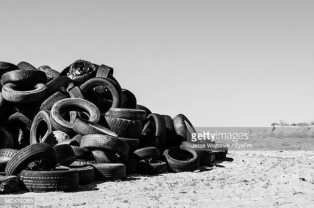 Stack Of Tires In Junkyard