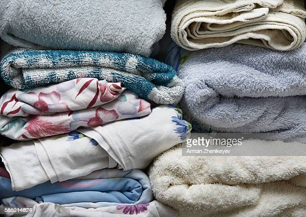 Stack of towels and linen. Close-up photo