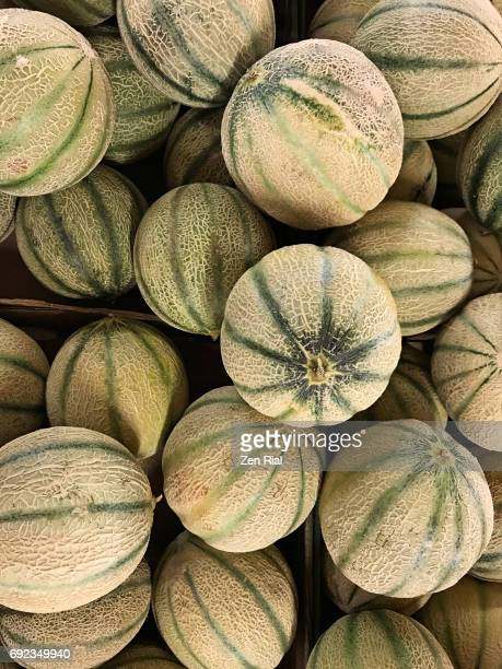 stack of tuscan melon in a market in ontario, canada - cantaloupe - muskmelon stock pictures, royalty-free photos & images