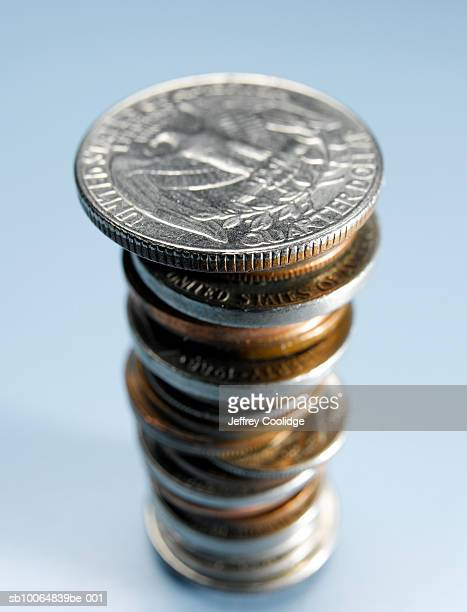 stack of us coins, close-up - twenty five cent coin stock pictures, royalty-free photos & images