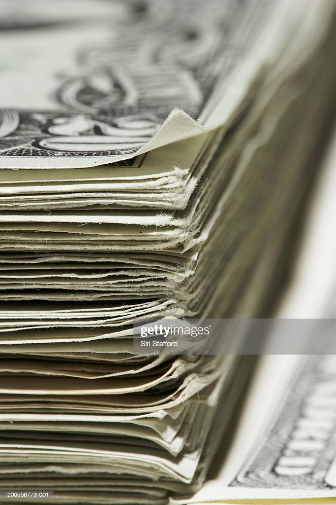 Stack of US Dollar banknotes, close-up : Stock Photo