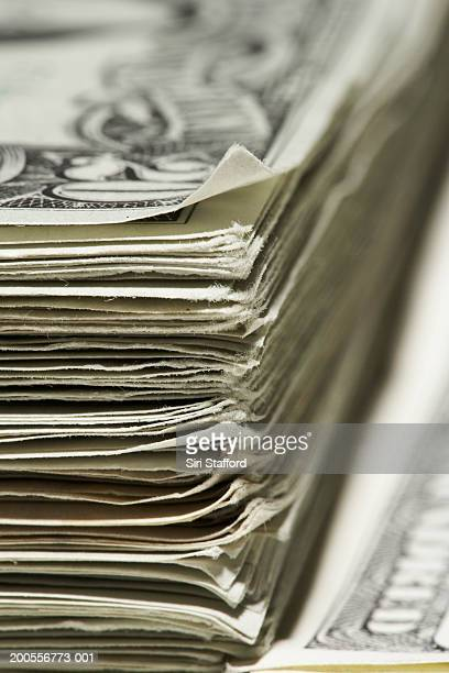 Stack of US Dollar banknotes, close-up