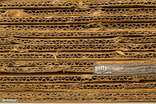 Stack of used corrugated cardboard for recycling
