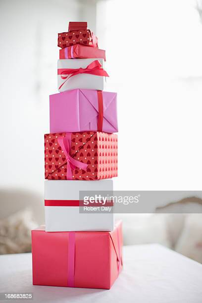 Stack of Valentine's Day gifts